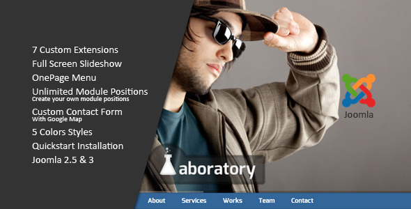 ThemeForest Laboratory One Page Creative Joomla Template 3843380