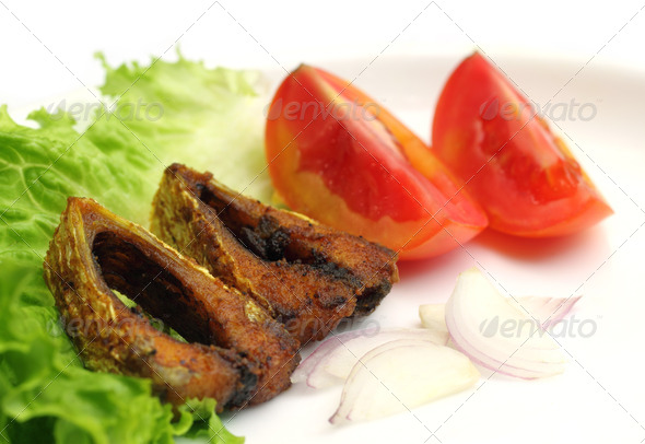 Stock Photography - Popular Ilish fish of Southeast Asia with salad items Photodune 3919137