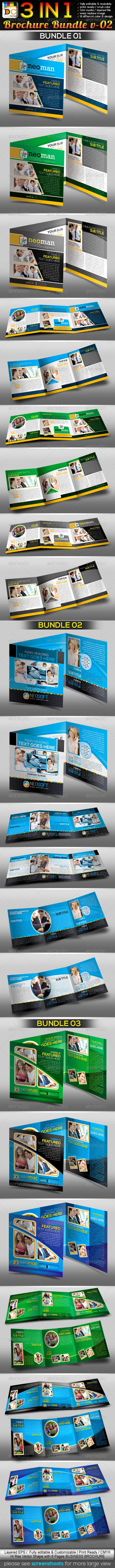 GraphicRiver 3in1 Corporate Tri-fold Business Brochure Bundle 3875513