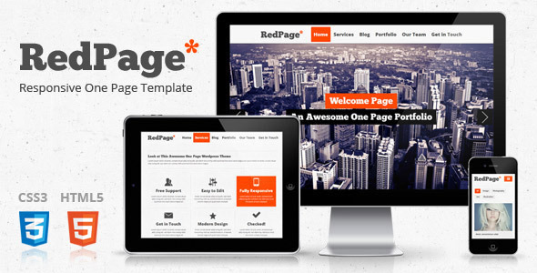 Red Page: Creative Responsive One Page Template