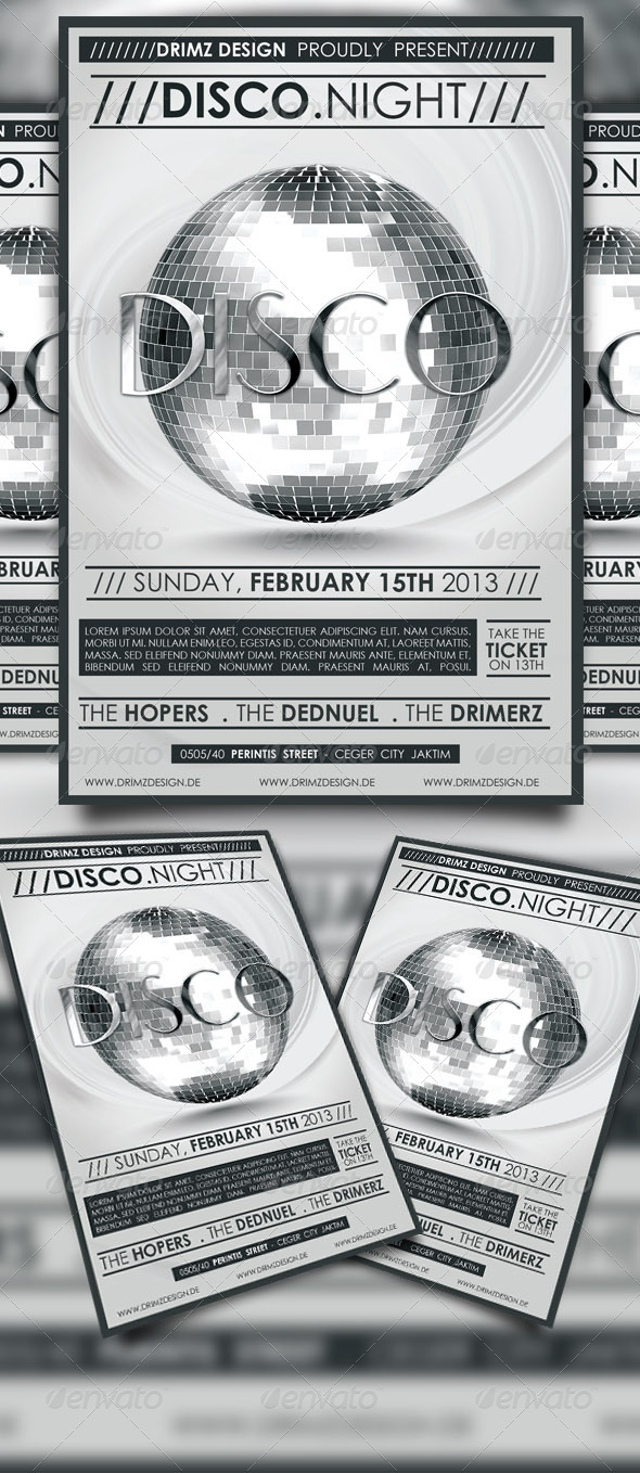 GraphicRiver Disco Party Flyer 3875834