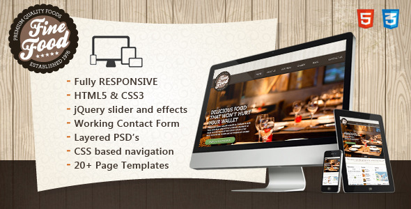 Fine Food - Restaurant Responsive HTML5 Theme - Restaurants & Cafes Entertainment