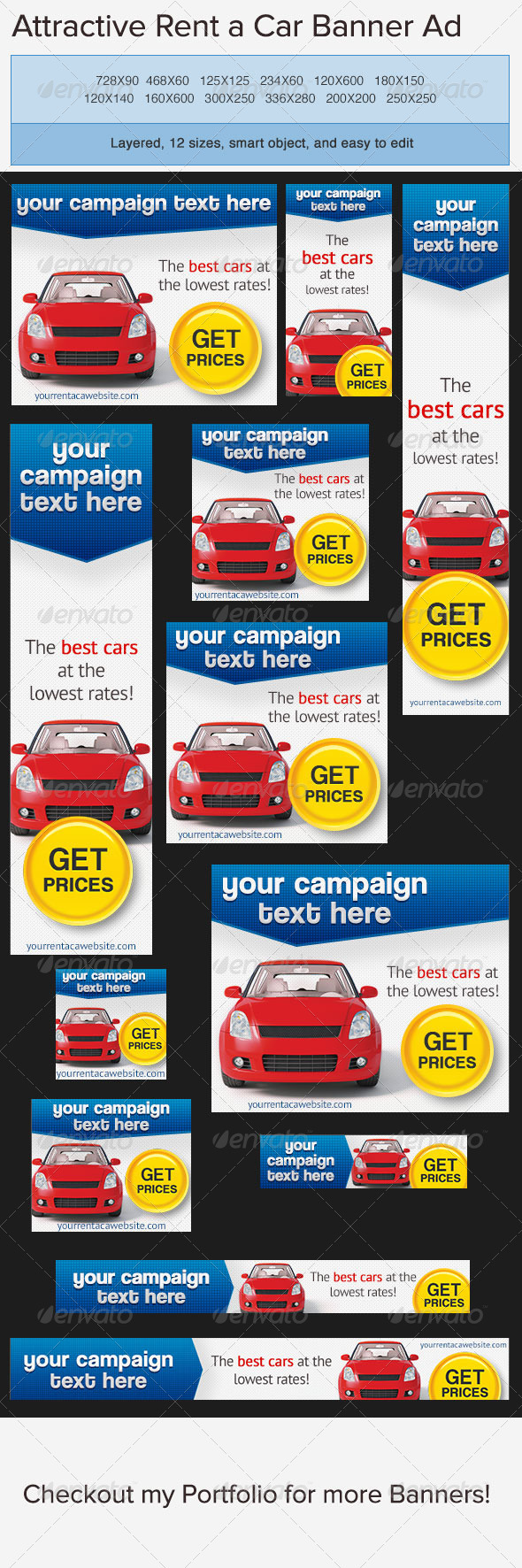 Car Rentals Banner Ad - Banners & Ads Web Elements