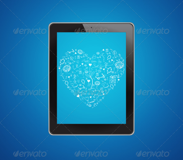 Drawing heart on tablet computer - Stock Photo - Images