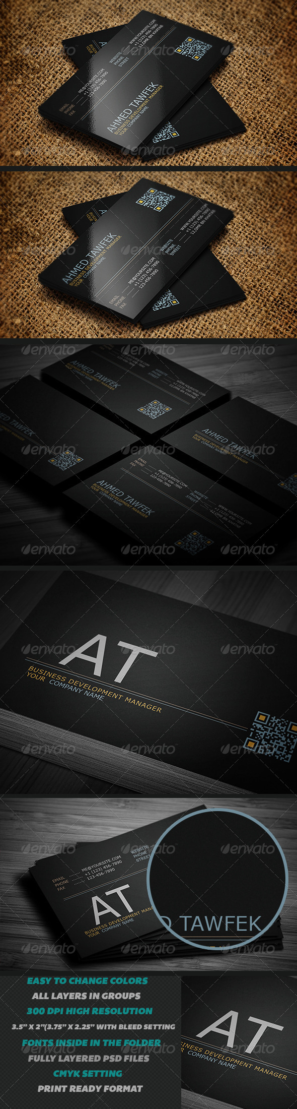 GraphicRiver Creative Black Business Cards 3882979