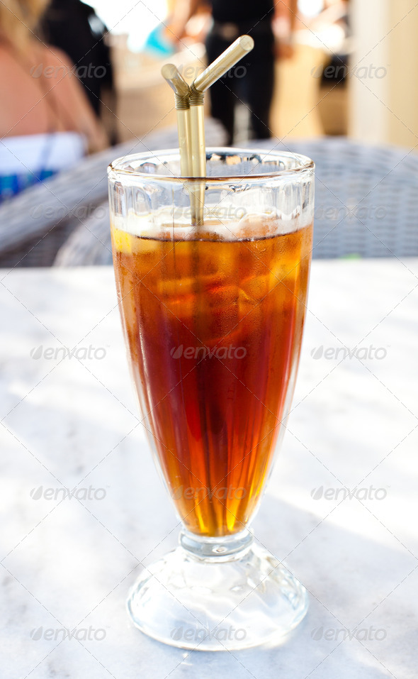 PhotoDune Cold iced tea with straw 3883280