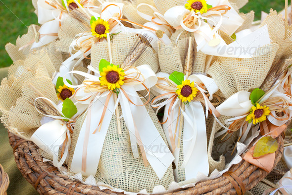 PhotoDune Jute wedding gifts with sunflowers 3883281