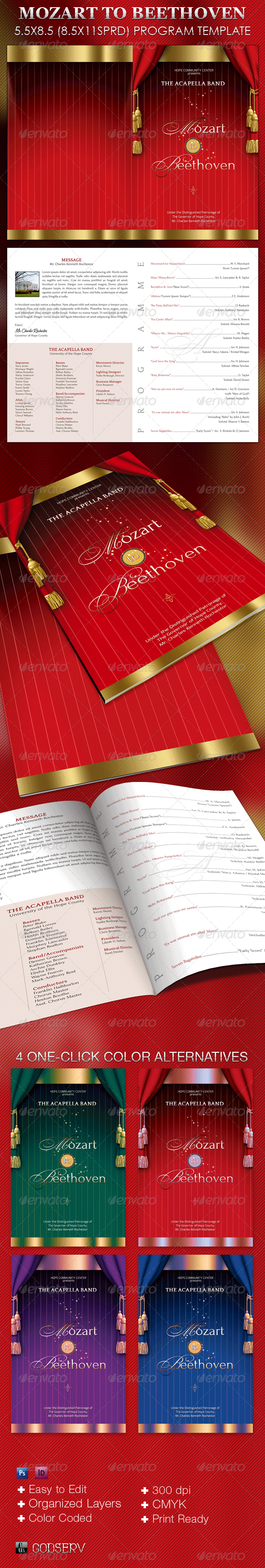 Mozart to Beethoven Program Template - Informational Brochures