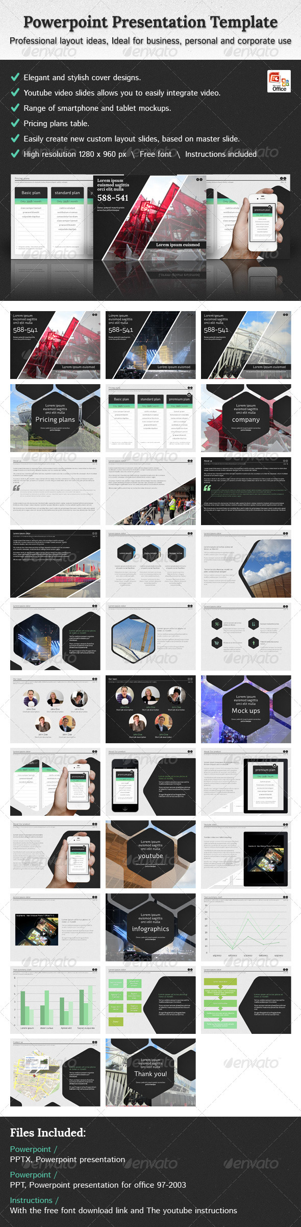 GraphicRiver Hexagon Powerpoint Presentation Template 3738126