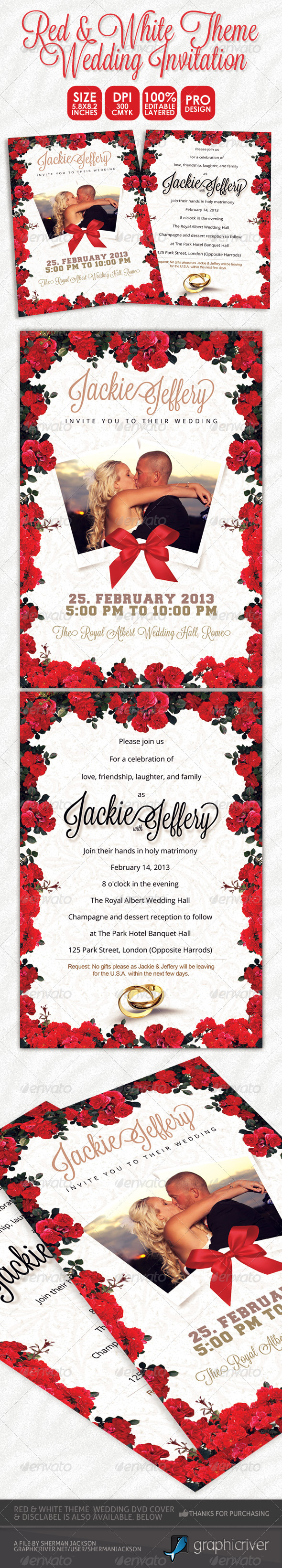 GraphicRiver Red & White Theme Wedding Invitation Card 3884540
