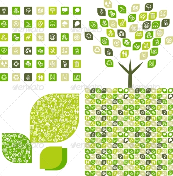 GraphicRiver Collection eco web icons and backgrounds 3884726