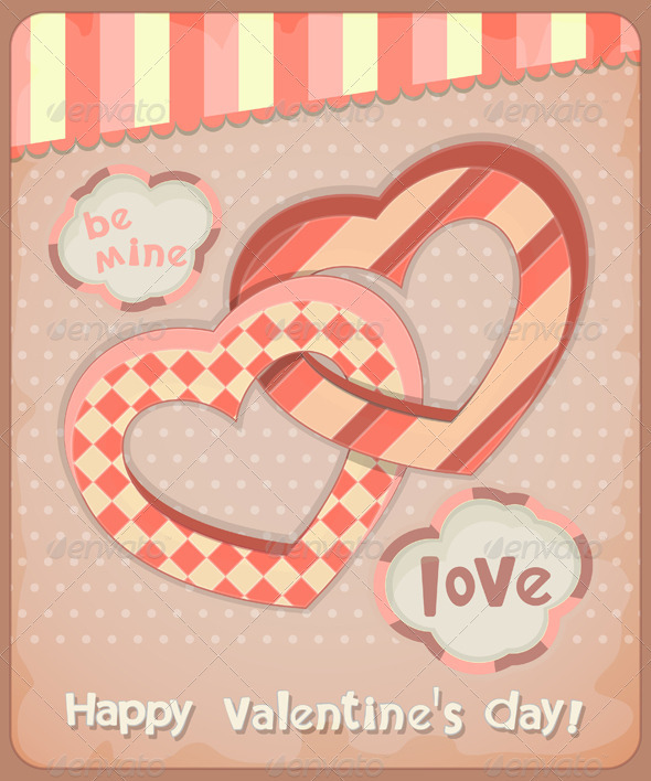 GraphicRiver Retro Postcard to the Valentine s Day 3885273
