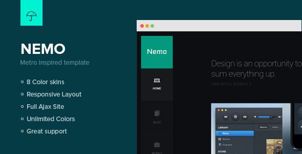 ThemeForest Nemo Metro Inspired Template 3869833