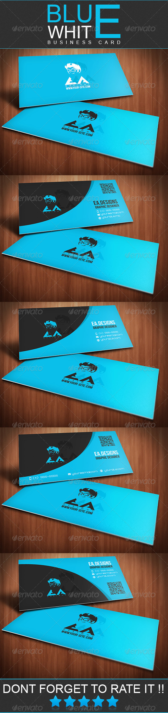 GraphicRiver Blue White Business Card 3670733