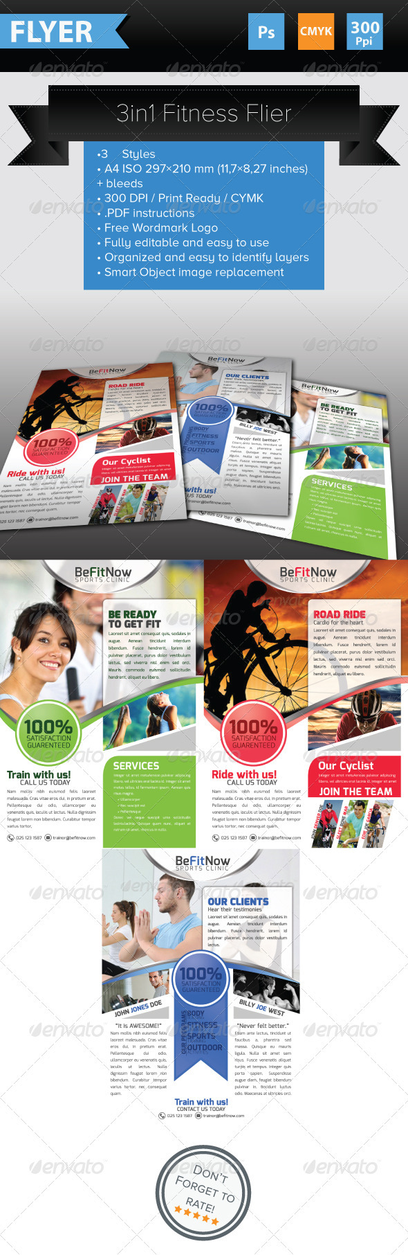 GraphicRiver 3 in 1 Fitness Flyers 3887363