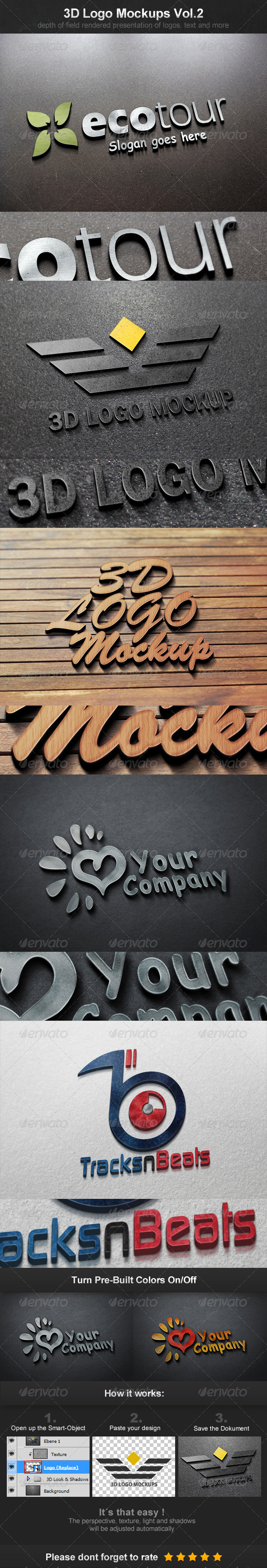 GraphicRiver 3D Logo Mockups Vol.2 3887513