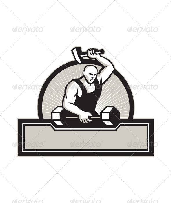 GraphicRiver Blacksmith With Hammer Striking Barbell 3891224