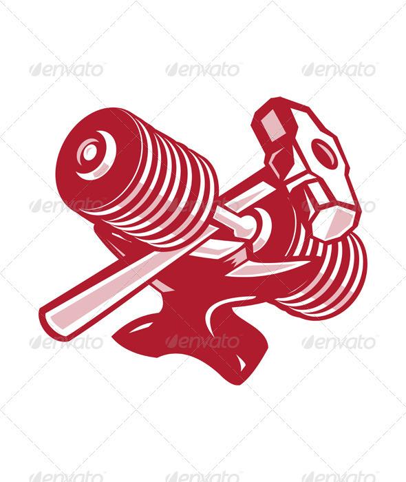 GraphicRiver Dumbbell Anvil and Sledgehammer Retro 3891292