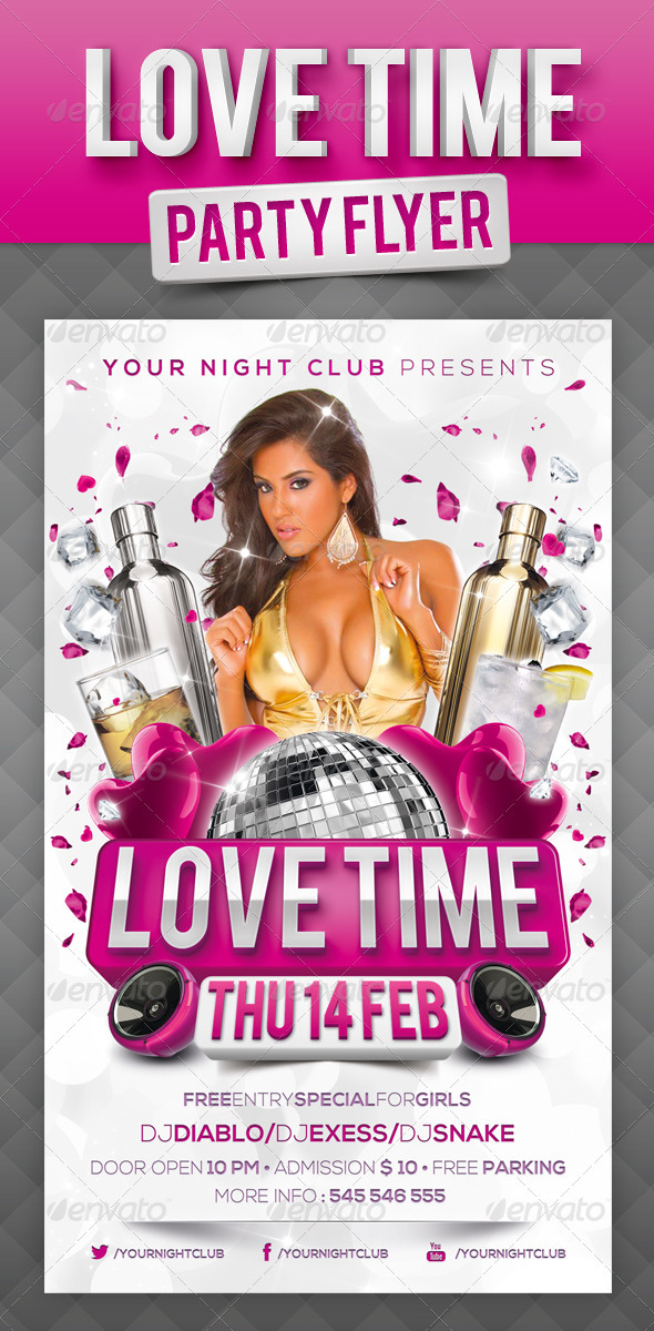 GraphicRiver Love Time Party Flyer 3814349