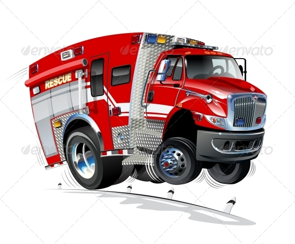 GraphicRiver Vector Cartoon Rescue Truck 3894005