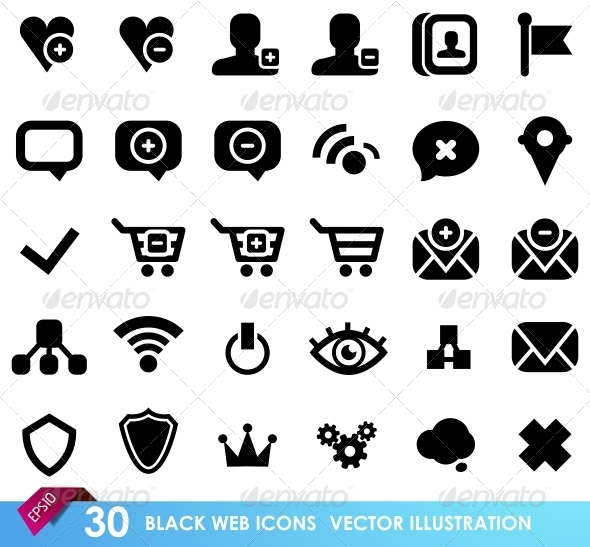 30 black web icons isolated on white - Web Elements Vectors