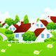 Green Landscape with Village - GraphicRiver Item for Sale