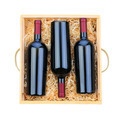 Three Red Wine Bottles in Wood Case - PhotoDune Item for Sale