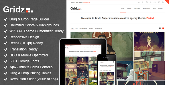 Gridz - Creative Agency Retina Ready WP Theme