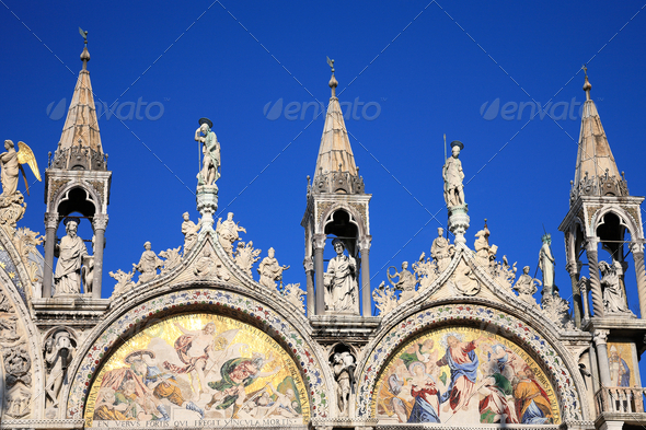 PhotoDune Saint Marks Basilica Cathedral Church Statues Mosaics Details 3895699