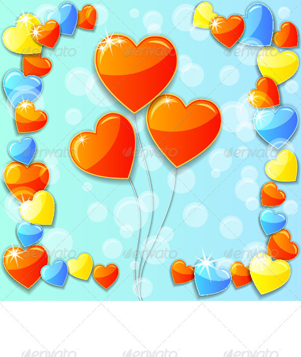 Blue Valentine's Day Card with Hearts - Valentines Seasons/Holidays