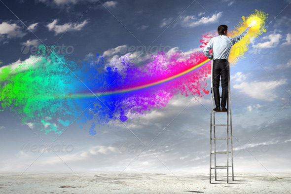 Man painting splashes - Stock Photo - Images