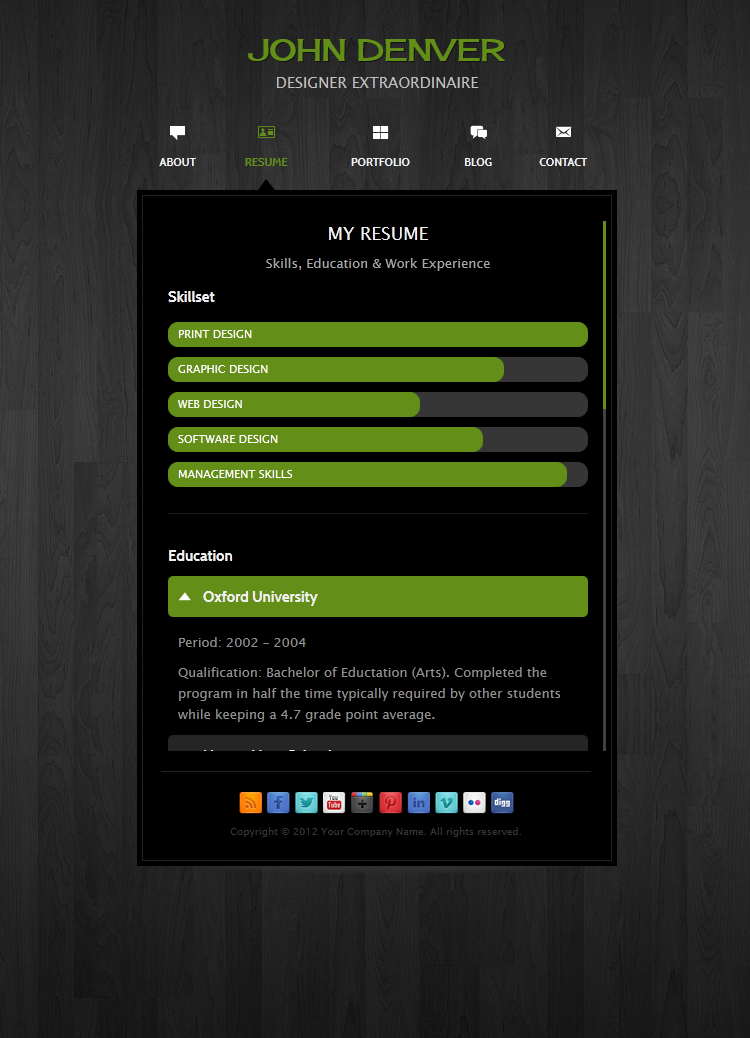 Rezume Wordpress vcard theme