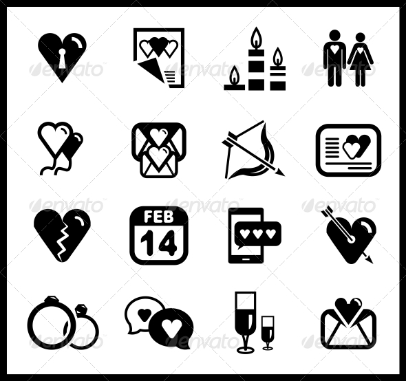 GraphicRiver Vector Set of Valentine s Day and Love Icons 3898007