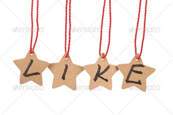 Like word on paper stars - Stock Photo - Images