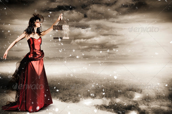 Fine Art Photo Of A Beautiful Winter Fashion Woman - Stock Photo - Images