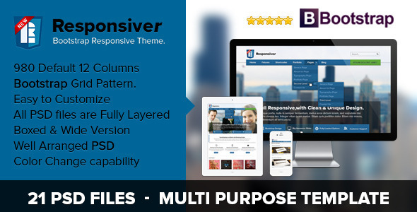 ThemeForest Responsiver Multipurpose Bootstrap PSD Template 3877422
