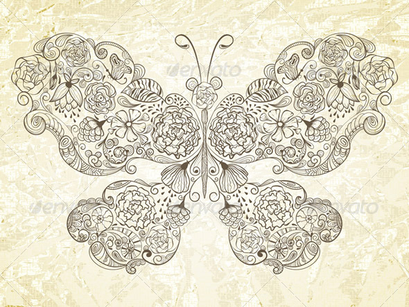 GraphicRiver Vector Butterfly Made of Flowers 3903352