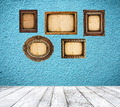 Retro blue room with empty frames - PhotoDune Item for Sale