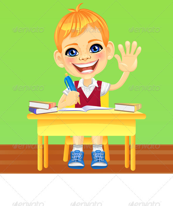 Vector Happy Smiling Schoolboy - People Characters