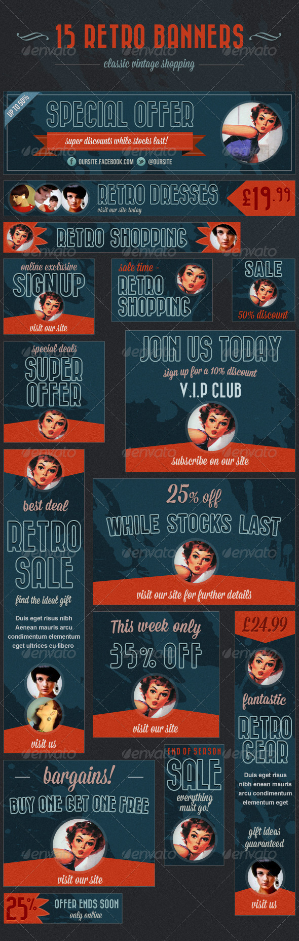 15 Retro Banners - Vintage Shopping Ads - Banners &amp; Ads Web Elements