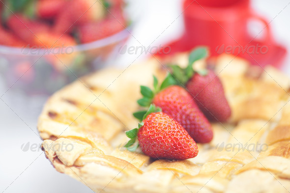 PhotoDune apple pie cup and strawberries isolated on white 3905548