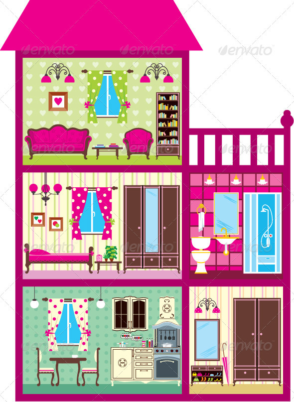 GraphicRiver House for the Girl in a Cut 3905609