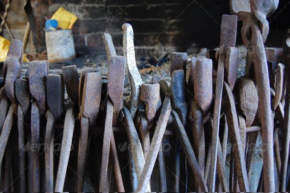 PhotoDune Old metal tools at forge 3905735