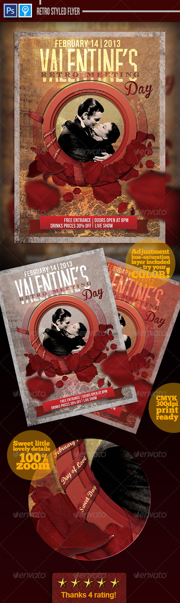 GraphicRiver Retro Valentines Day Flyer 3834743
