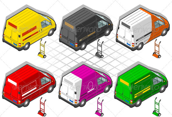 GraphicRiver Isometric Delivery Truck in Six Livery 3909215