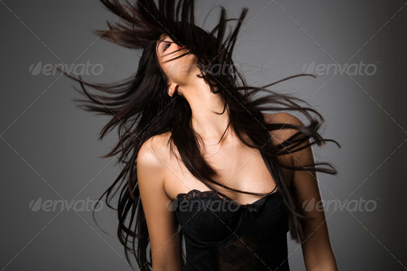 Woman with long hair - Stock Photo - Images