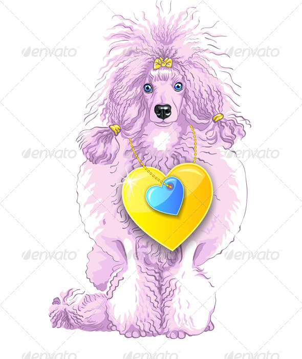GraphicRiver Vector Pink Poodle Dog with Gold Heart 3909788