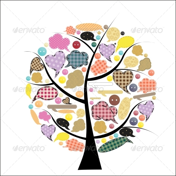 GraphicRiver Abstract Vector spring tree illustration 3909996