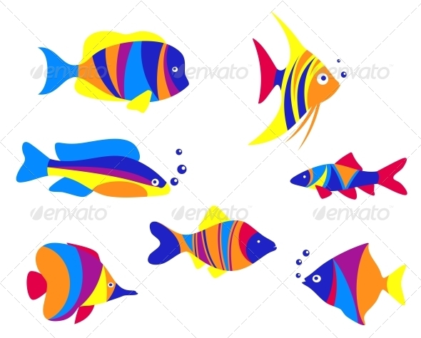 GraphicRiver Abstract colorful aquarium fishes 3910089