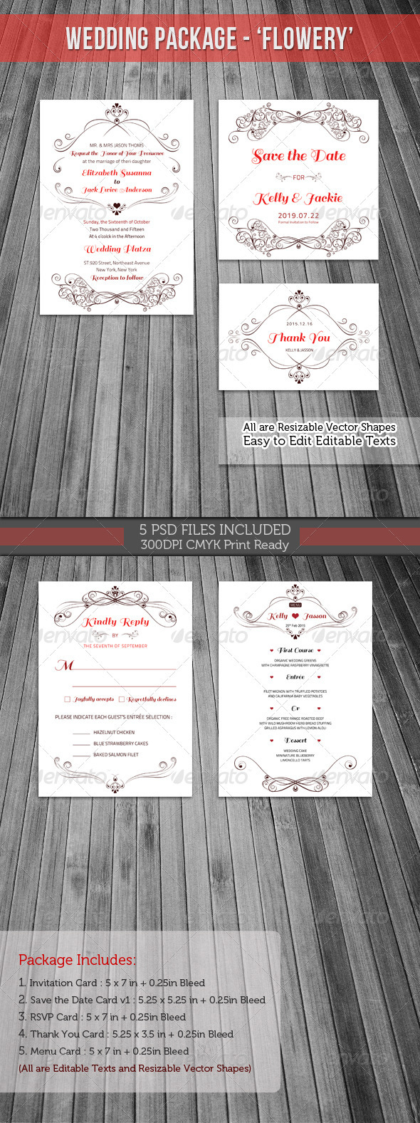 Wedding Invitation Package - Flowery - Weddings Cards & Invites